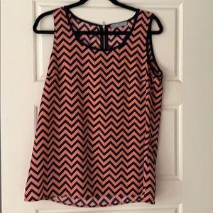 Navy/pink chevron print sleeveless top